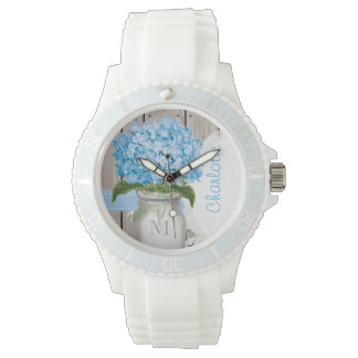 Monogrammed Mason Jar Blue Hydrangea Watch
