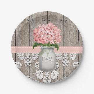 Monogrammed Mason Jar Pink Hydrangea Wedding Paper Plate