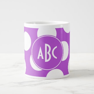 Monogrammed Medium Orchid and White Polka Dots Large Coffee Mug