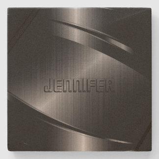 Monogrammed Metallic Black Stainless Steel Look Stone Coaster