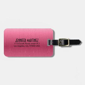 Monogrammed Metallic Pink  Brushed Aluminum Look Luggage Tag