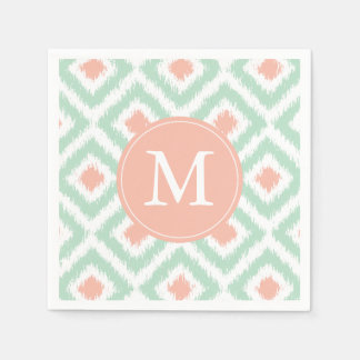 Monogrammed Mint and Coral Ikat Pattern Disposable Napkins
