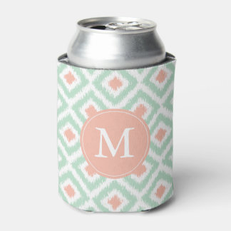 Monogrammed Mint and Coral Pattern Can Cooler