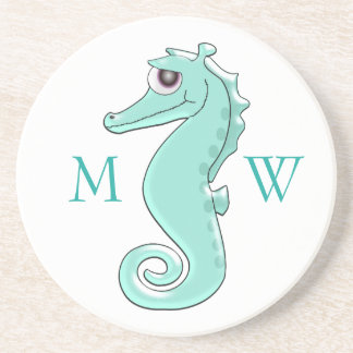 Monogrammed Mint Coloured Seahorse Coasters