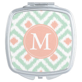 Monogrammed Mint Coral Diamond Ikat Pattern Mirror For Makeup