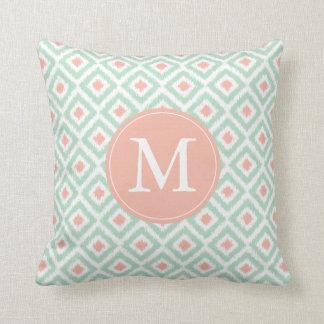 Monogrammed Mint Coral Diamonds Ikat Pattern Throw Pillow