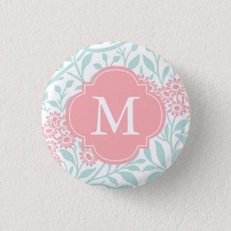 Monogrammed Mint Coral Floral Damask Pattern 3 Cm Round Badge