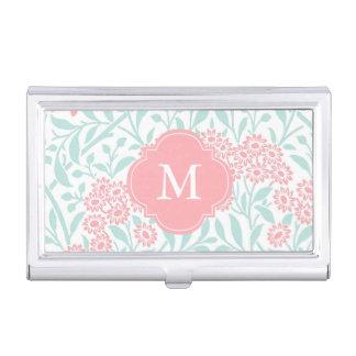 Monogrammed Mint Coral Floral Damask Pattern Business Card Holder