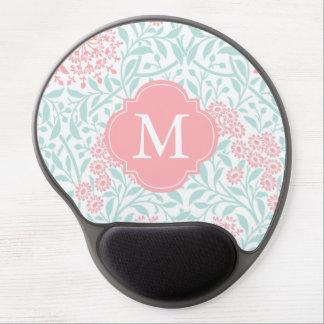 Monogrammed Mint Coral Floral Damask Pattern Gel Mouse Pad