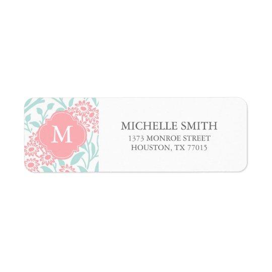 Monogrammed Mint Coral Floral Damask Pattern Return Address Label