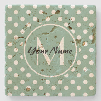 Monogrammed Mint Green and White Polka Dots Stone Coaster