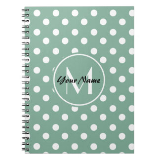 Monogrammed Mint Green and White Polka Dots Spiral Notebook