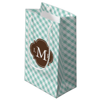 Monogrammed Mint Green Gingham Pattern Small Gift Bag