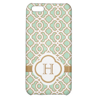 Monogrammed Mint Green Gold Moroccan Case For iPhone 5C