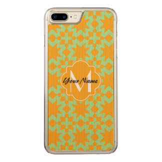 Monogrammed Mint Green Orange Stylish Chic Pattern Carved iPhone 8 Plus/7 Plus Case