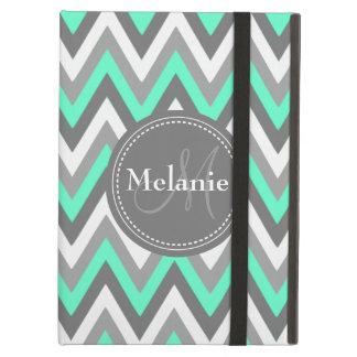 Monogrammed Mint & Grey Chevron Pattern iPad Air Covers