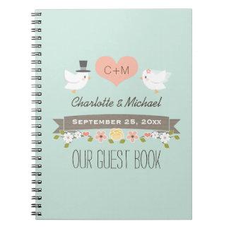 Monogrammed Mint Love Birds Wedding Guest Book Spiral Note Book