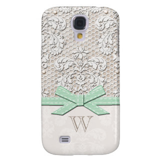 Monogrammed Mint Vintage Lace Pearl Samsung Galaxy S4 Case