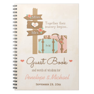 MONOGRAMMED MISS TO MRS. TRAVEL THEMED GUEST BOOK NOTEBOOKS