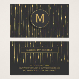 Monogrammed Modern Abstract Gold Lines - Charcoal Business Card