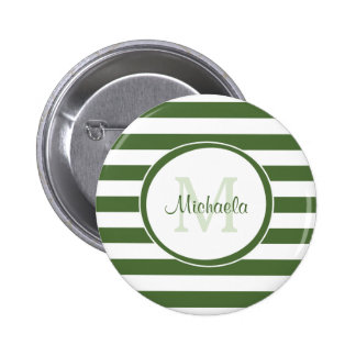 Monogrammed Modern Broad Forest Green Stripes 6 Cm Round Badge