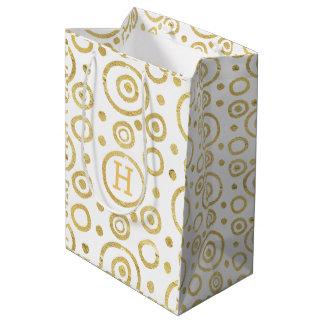 Monogrammed Modern Gold & White Circles Pattern Medium Gift Bag