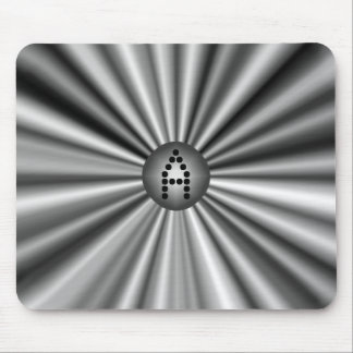 Monogrammed Modern Stylish Black White Silver Mouse Pad