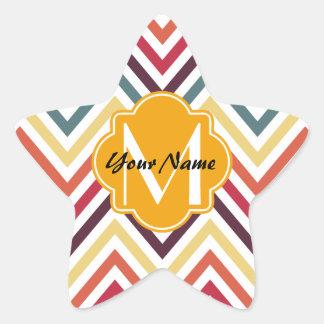 Monogrammed Modern Trendy Chevron Pattern Gifts Star Sticker
