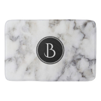 Monogrammed  Modern White & Gray Marble Stone Bath Mat