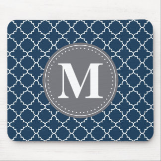 Monogrammed Moroccan Lattice in Navy / Gray Mouse Pad