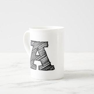 """Monogrammed Mug: Letter """"A"""" Tea Cup"""