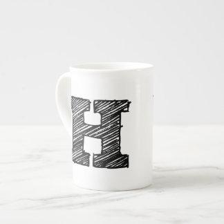 """Monogrammed Mug: Letter """"H"""" Tea Cup"""