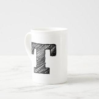 """Monogrammed Mug: Letter """"T"""" Tea Cup"""