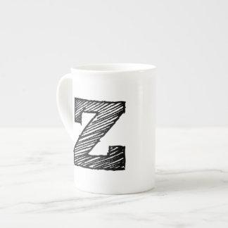 """Monogrammed Mug: Letter """"Z"""" Tea Cup"""