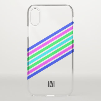 Monogrammed Multicolor Striped iPhone X Case