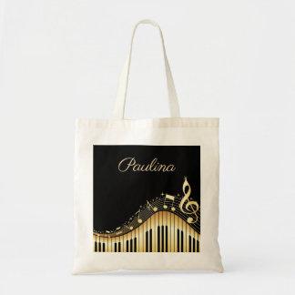 Monogrammed Music Keyboard Tote Bag