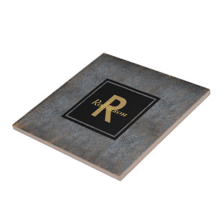Monogrammed Name | Distressed Leather Look Brown Small Square Tile