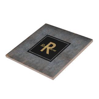 Monogrammed Name | Distressed Leather Look Brown Tile