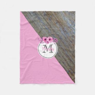 Monogrammed Name | Rustic Wood Floral Pink Nursery Fleece Blanket