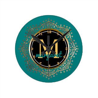 Monogrammed Name   Teal Gold Floral Boho Mandala Round Clock