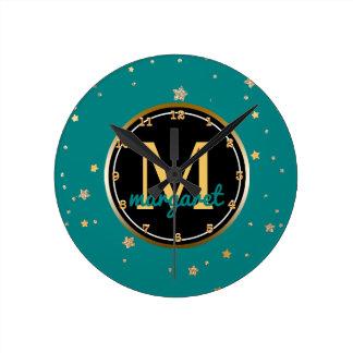 Monogrammed Name | Teal Gold Stars Pattern Round Clock