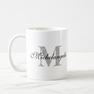 Monogrammed Name & Textured Initial Letter Coffee Mug