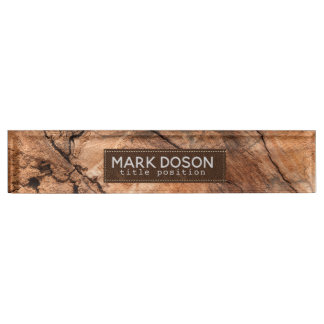 Monogrammed Natural Wood Nameplate