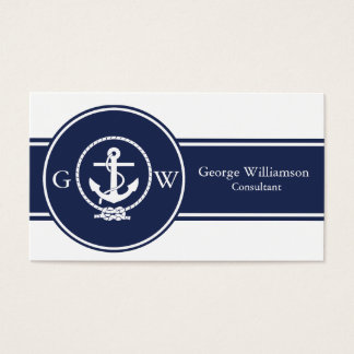 Monogrammed Nautical Navy Blue Anchor and Line Business Card
