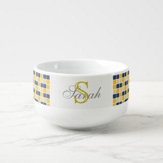 Monogrammed Navy and Yellow Mosaic Soup Mug