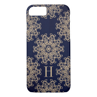 Monogrammed Navy Blue and Gold Exotic Medallion iPhone 7 Case