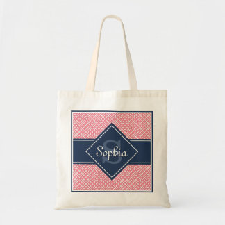 Monogrammed Navy Blue and Pink Diamond Pattern