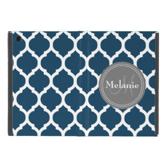 Monogrammed Navy Blue  & Grey Quatrefoil Cases For iPad Mini