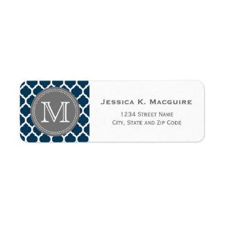 Monogrammed Navy Blue & Grey Return Address Label