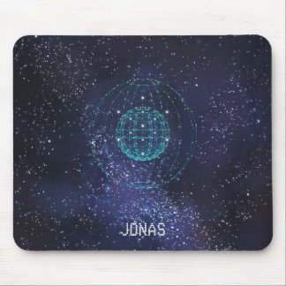Monogrammed Night Sky Abstract Globe Mouse Pad